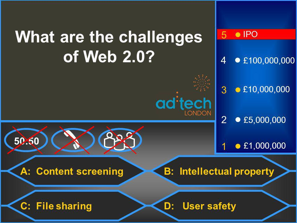 A: Content screening C: File sharingD: User safety 50:50 3 2 1 £5,000,000 £1,000,000 £10,000,000 4 £100,000,000 5 IPO What are the challenges of Web 2.0.