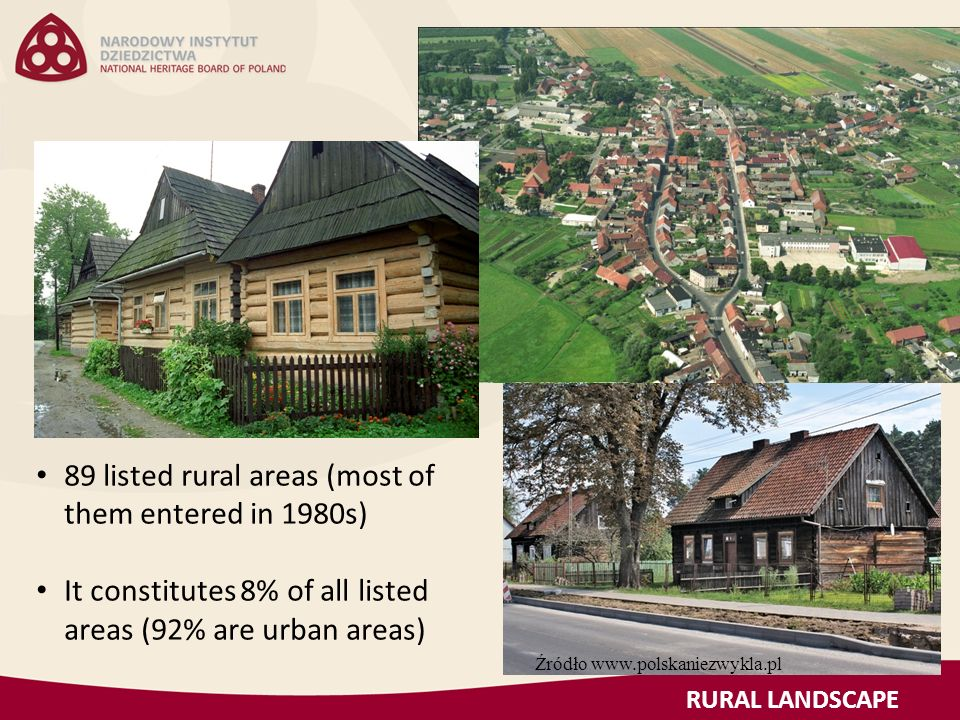 89 listed rural areas (most of them entered in 1980s) It constitutes 8% of all listed areas (92% are urban areas) RURAL LANDSCAPE Źródło www.polskaniezwykla.pl