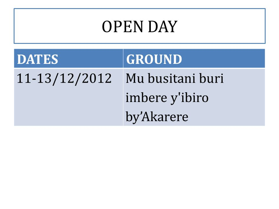 OPEN DAY DATESGROUND 11-13/12/2012Mu busitani buri imbere y ibiro byAkarere