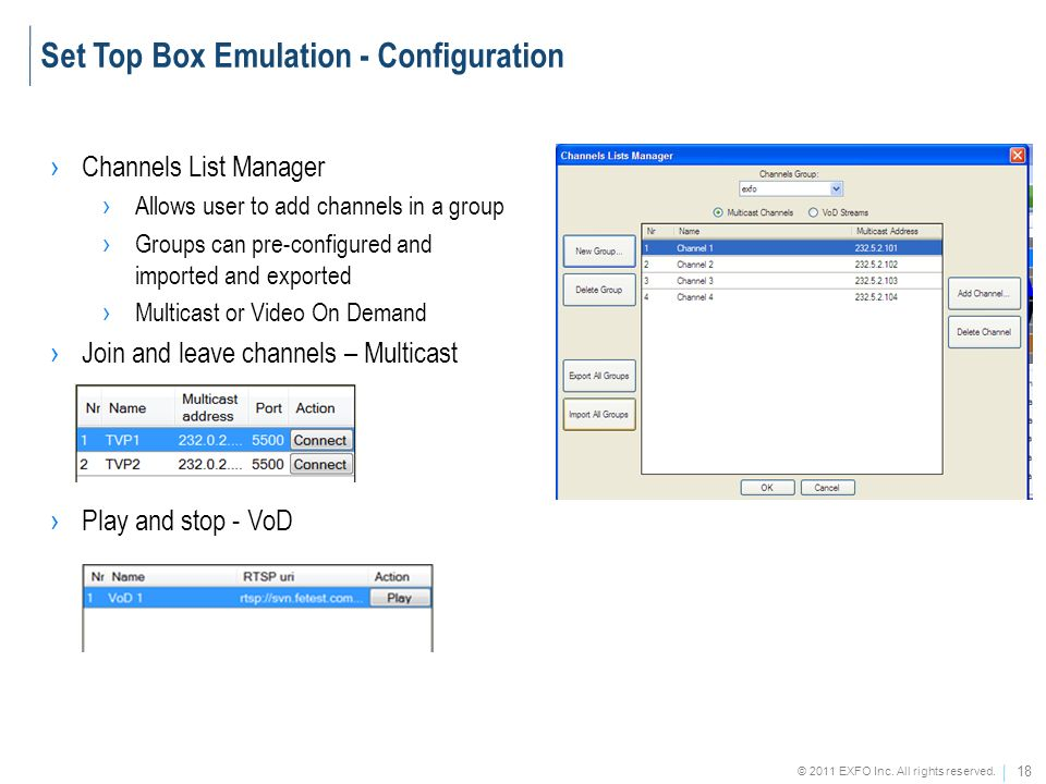 18 © 2011 EXFO Inc. All rights reserved. Channels List Manager Allows user to add channels in a group Groups can pre-configured and imported and expor
