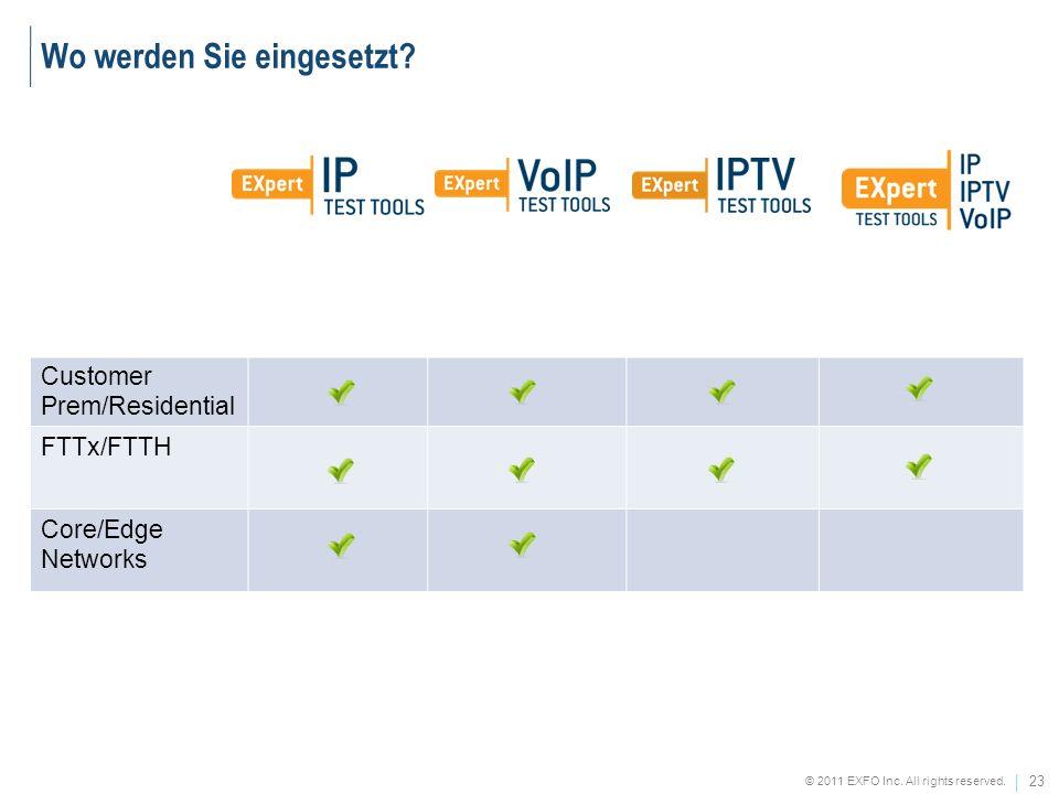 23 © 2011 EXFO Inc. All rights reserved. Customer Prem/Residential FTTx/FTTH Core/Edge Networks Wo werden Sie eingesetzt?