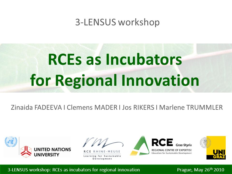 3-LENSUS workshop: RCEs as incubators for regional innovation Prague, May 26 th LENSUS workshop Zinaida FADEEVA I Clemens MADER I Jos RIKERS I Marlene TRUMMLER RCEs as Incubators for Regional Innovation