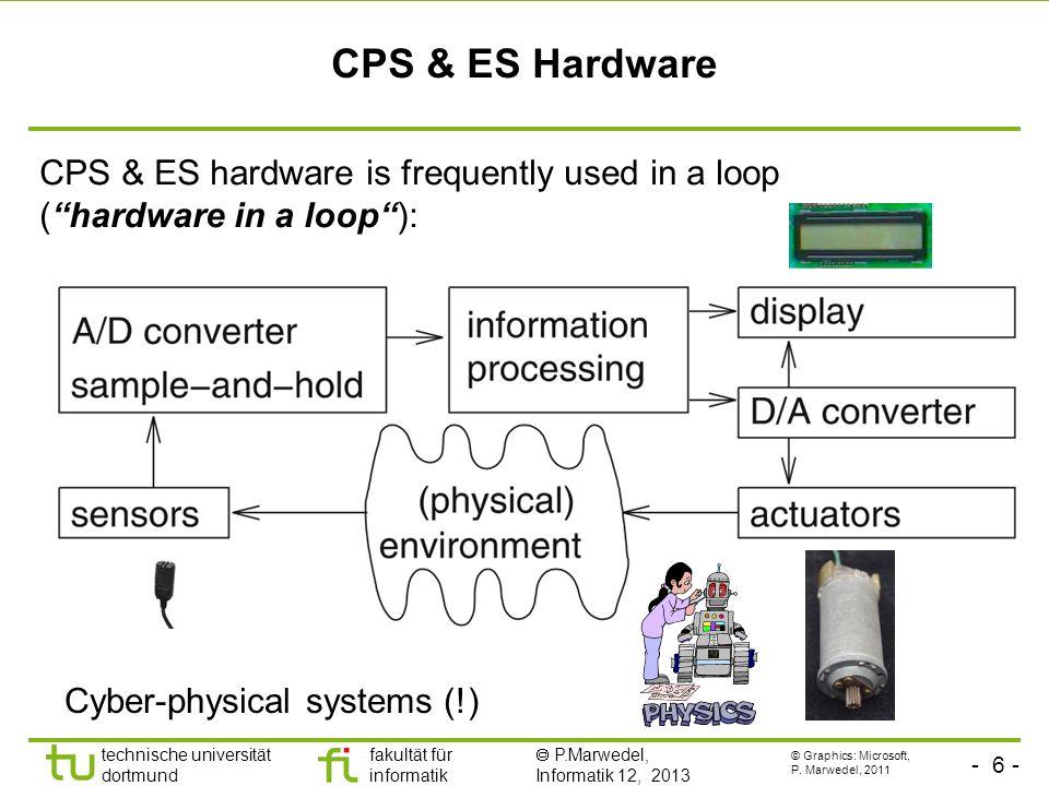 - 6 - technische universität dortmund fakultät für informatik P.Marwedel, Informatik 12, 2013 CPS & ES Hardware CPS & ES hardware is frequently used in a loop (hardware in a loop): Cyber-physical systems (!) © Graphics: Microsoft, P.