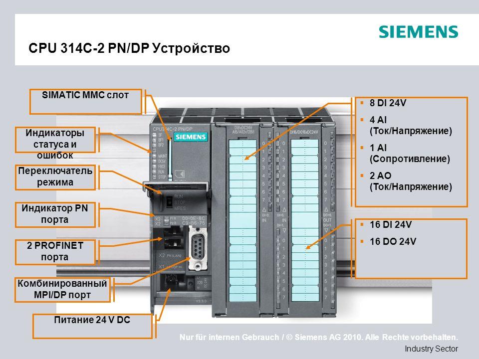 Nur für internen Gebrauch / © Siemens AG 2010. Alle Rechte vorbehalten. Industry Sector CPU 314C-2 PN/DP Устройство Комбинированный MPI/DP порт Питани