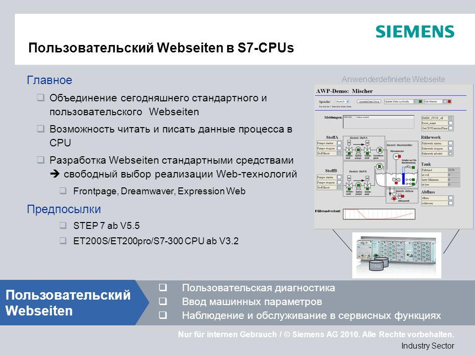 Nur für internen Gebrauch / © Siemens AG 2010. Alle Rechte vorbehalten. Industry Sector Пользовательский Webseiten в S7-CPUs Главное Объединение сегод