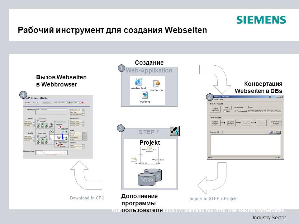 Nur für internen Gebrauch / © Siemens AG 2010. Alle Rechte vorbehalten. Industry Sector Рабочий инструмент для создания Webseiten STEP 7 Projekt DB100
