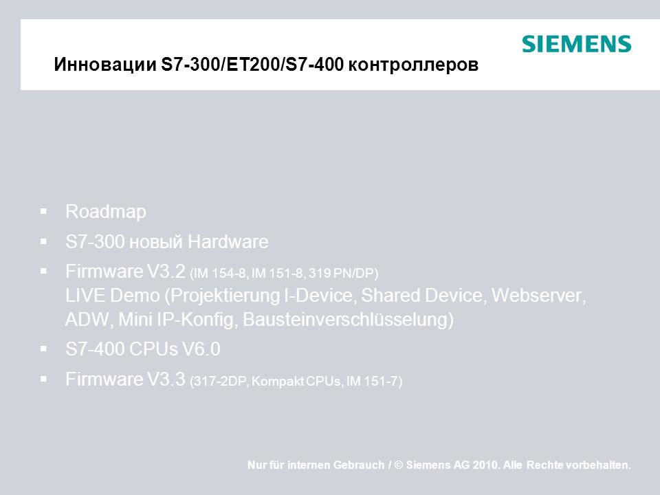 Nur für internen Gebrauch / © Siemens AG 2010. Alle Rechte vorbehalten. Инновации S7-300/ET200/S7-400 контроллеров Roadmap S7-300 новый Hardware Firmw