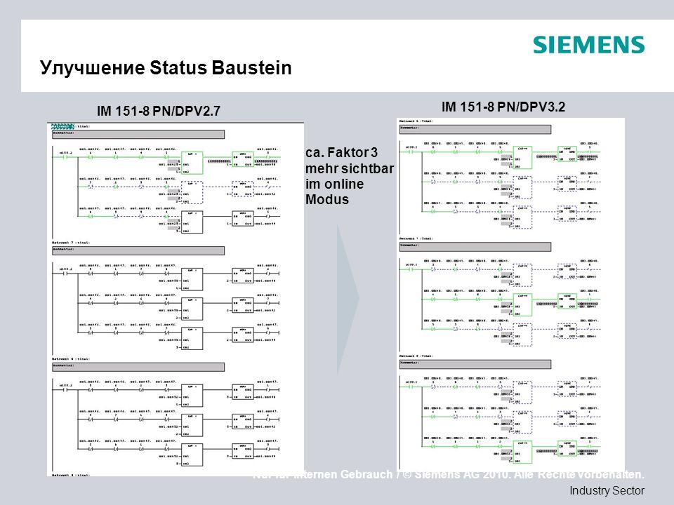Nur für internen Gebrauch / © Siemens AG 2010. Alle Rechte vorbehalten. Industry Sector Улучшение Status Baustein ca. Faktor 3 mehr sichtbar im online