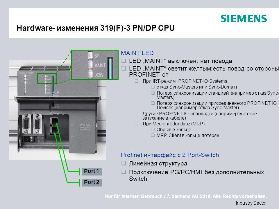 Nur für internen Gebrauch / © Siemens AG 2010. Alle Rechte vorbehalten. Industry Sector Hardware- изменения 319(F)-3 PN/DP CPU MAINT LED LED MAINT вык