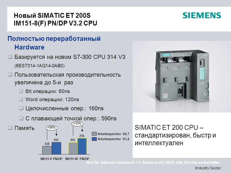 Nur für internen Gebrauch / © Siemens AG 2010. Alle Rechte vorbehalten. Industry Sector Новый SIMATIC ET 200S IM151-8(F) PN/DP V3.2 CPU Полностью пере