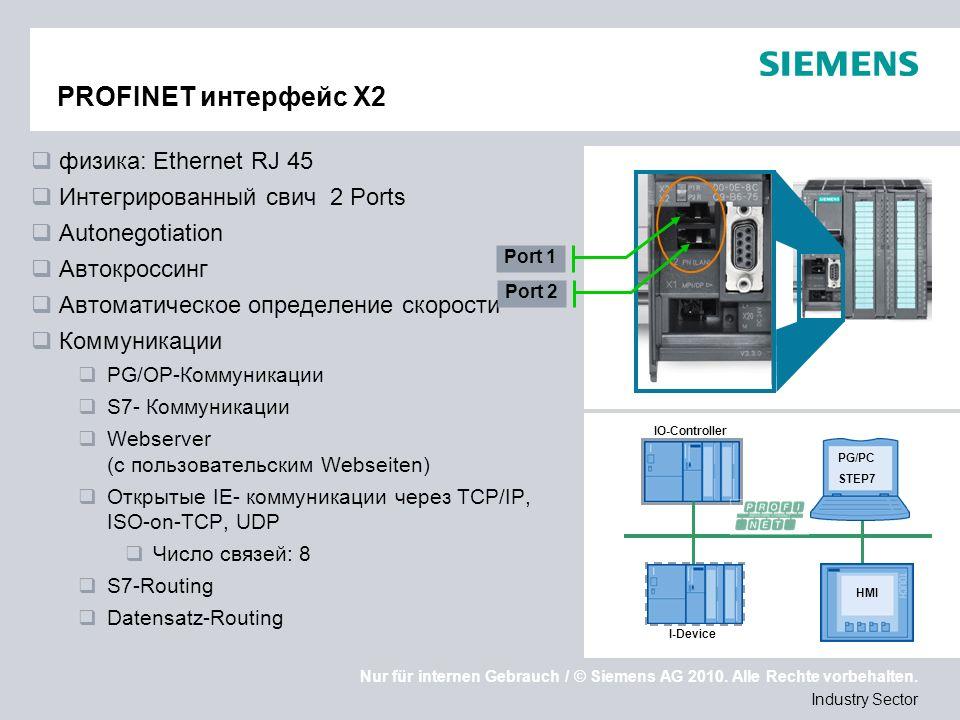 Nur für internen Gebrauch / © Siemens AG 2010. Alle Rechte vorbehalten. Industry Sector PROFINET интерфейс X2 физика: Ethernet RJ 45 Интегрированный с