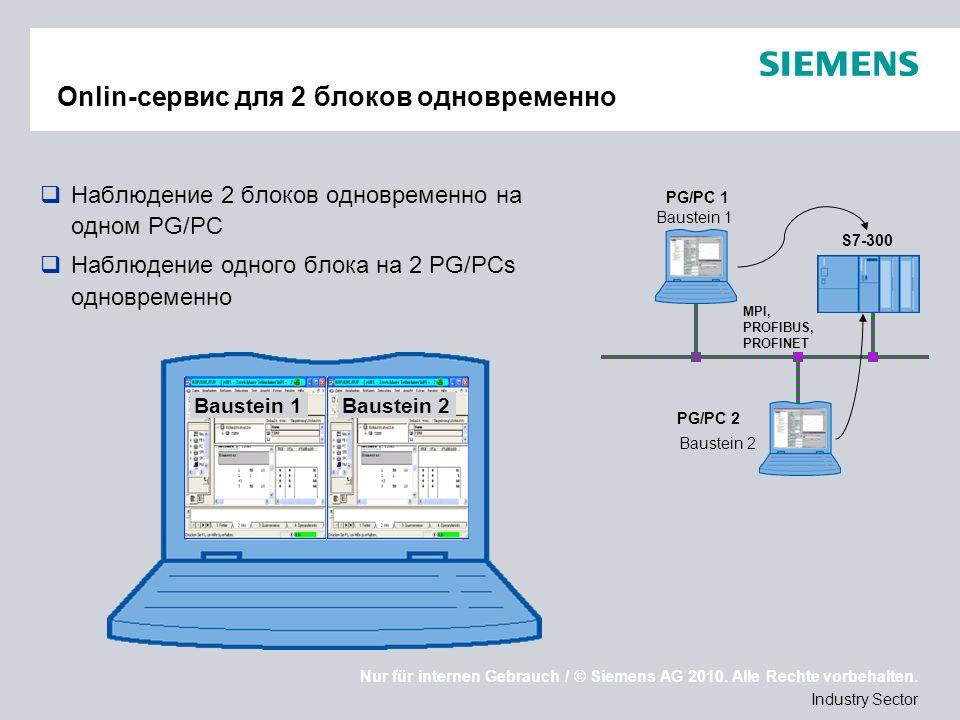 Nur für internen Gebrauch / © Siemens AG 2010. Alle Rechte vorbehalten. Industry Sector Onlin-сервис для 2 блоков одновременно Наблюдение 2 блоков одн