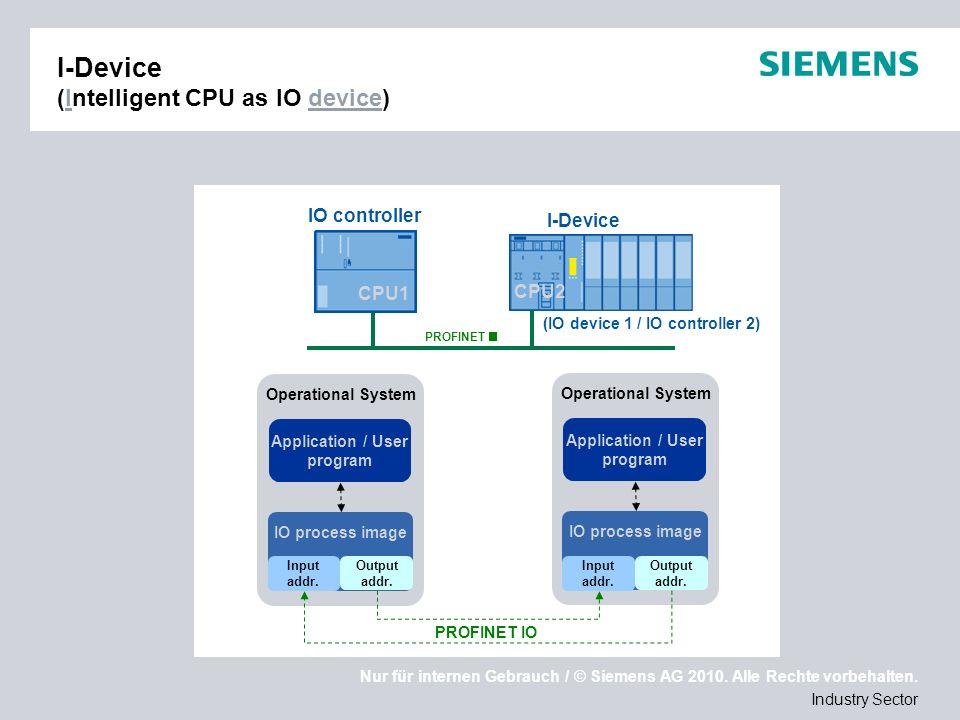 Nur für internen Gebrauch / © Siemens AG 2010. Alle Rechte vorbehalten. Industry Sector I-Device (Intelligent CPU as IO device) (IO device 1 / IO cont