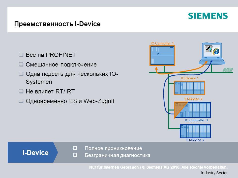 Nur für internen Gebrauch / © Siemens AG 2010. Alle Rechte vorbehalten. Industry Sector Преемственность I-Device IO-Controller 2 IO-Controller 1 IO-De