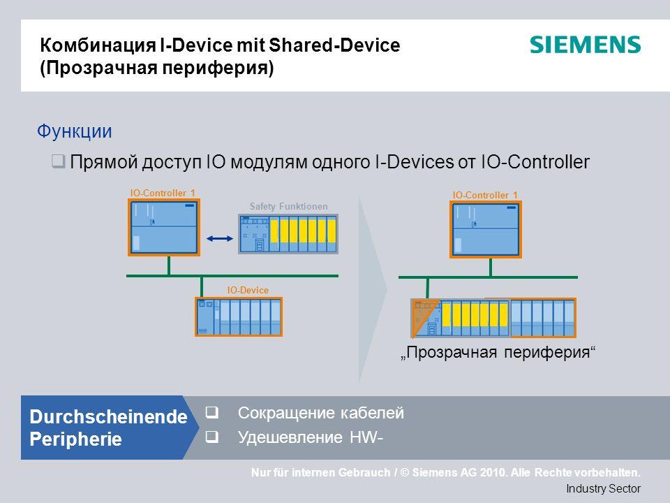 Nur für internen Gebrauch / © Siemens AG 2010. Alle Rechte vorbehalten. Industry Sector Комбинация I-Device mit Shared-Device (Прозрачная периферия) I