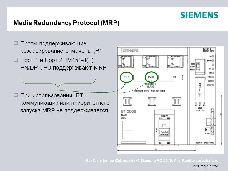 Nur für internen Gebrauch / © Siemens AG 2010. Alle Rechte vorbehalten. Industry Sector Media Redundancy Protocol (MRP) Проты поддерживающие резервиро