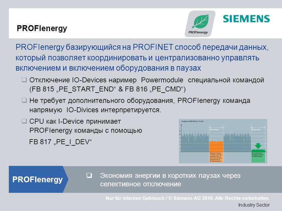 Nur für internen Gebrauch / © Siemens AG 2010. Alle Rechte vorbehalten. Industry Sector PROFIenergy PROFIenergy базирующийся на PROFINET способ переда