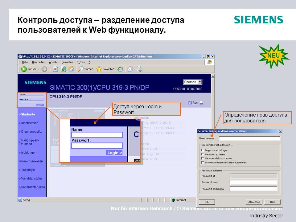 Nur für internen Gebrauch / © Siemens AG 2010. Alle Rechte vorbehalten. Industry Sector Контроль доступа – разделение доступа пользователей к Web функ