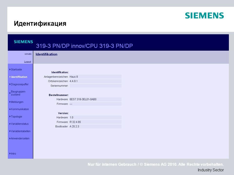 Nur für internen Gebrauch / © Siemens AG 2010. Alle Rechte vorbehalten. Industry Sector Идентификация