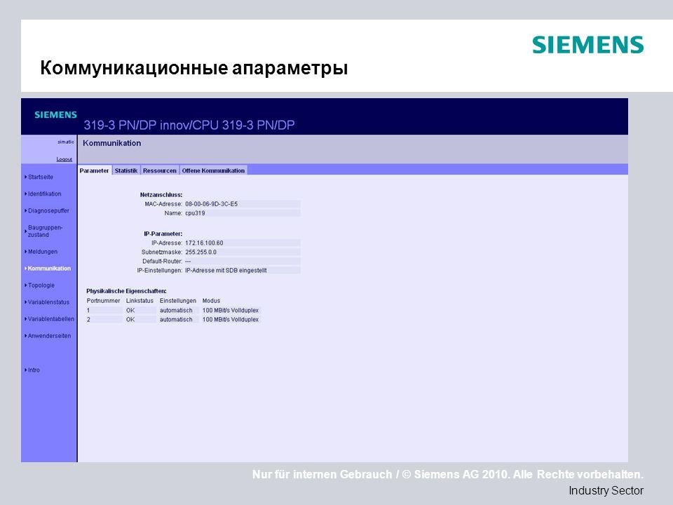 Nur für internen Gebrauch / © Siemens AG 2010. Alle Rechte vorbehalten. Industry Sector Коммуникационные апараметры