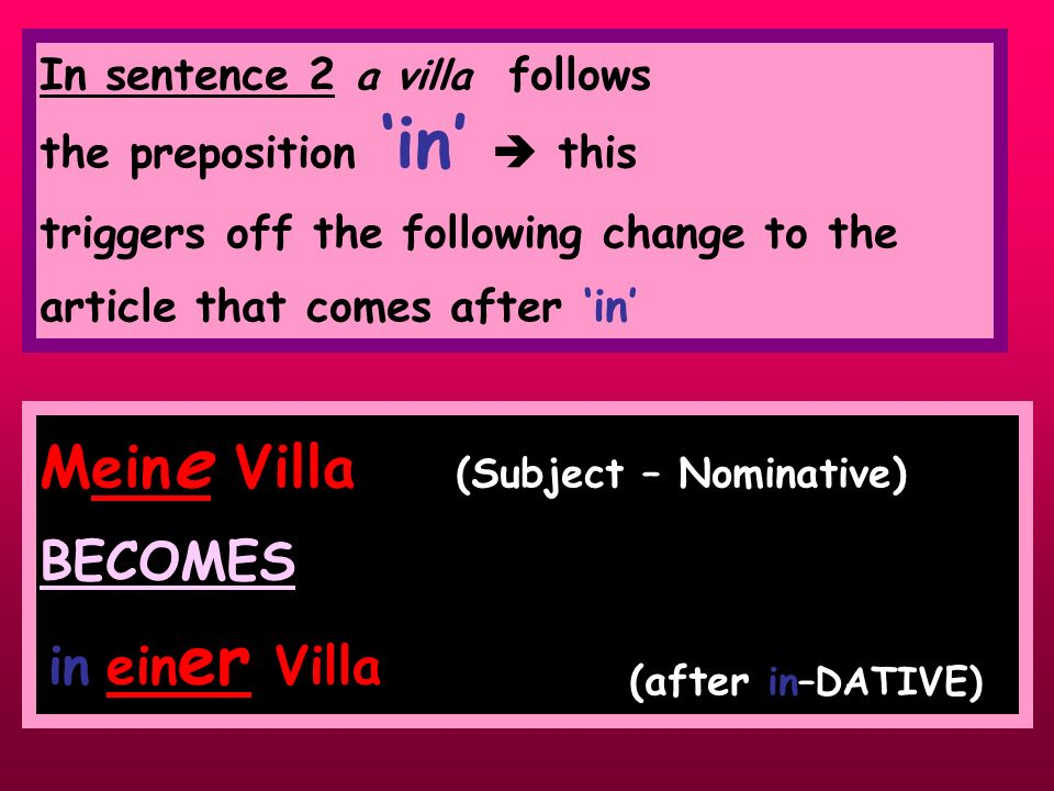 Have you noticed……..? In sentence 1 my villa is Mein e Villa because it is (the doer!) of the sentence, i.e. the main player in the sentence. The Subj