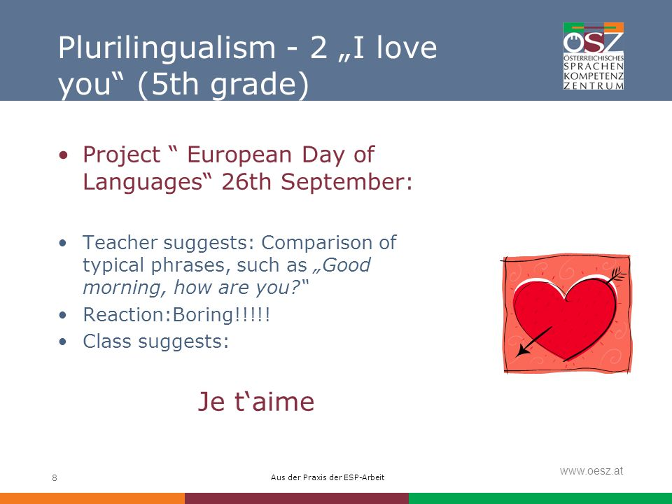 Aus der Praxis der ESP-Arbeit www.oesz.at 8 Plurilingualism - 2 I love you (5th grade) Project European Day of Languages 26th September: Teacher suggests: Comparison of typical phrases, such as Good morning, how are you.