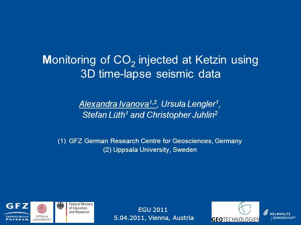 Monitoring of CO 2 injected at Ketzin using 3D time-lapse seismic data Alexandra Ivanova 1,2, Ursula Lengler 1, Stefan Lüth 1 and Christopher Juhlin 2