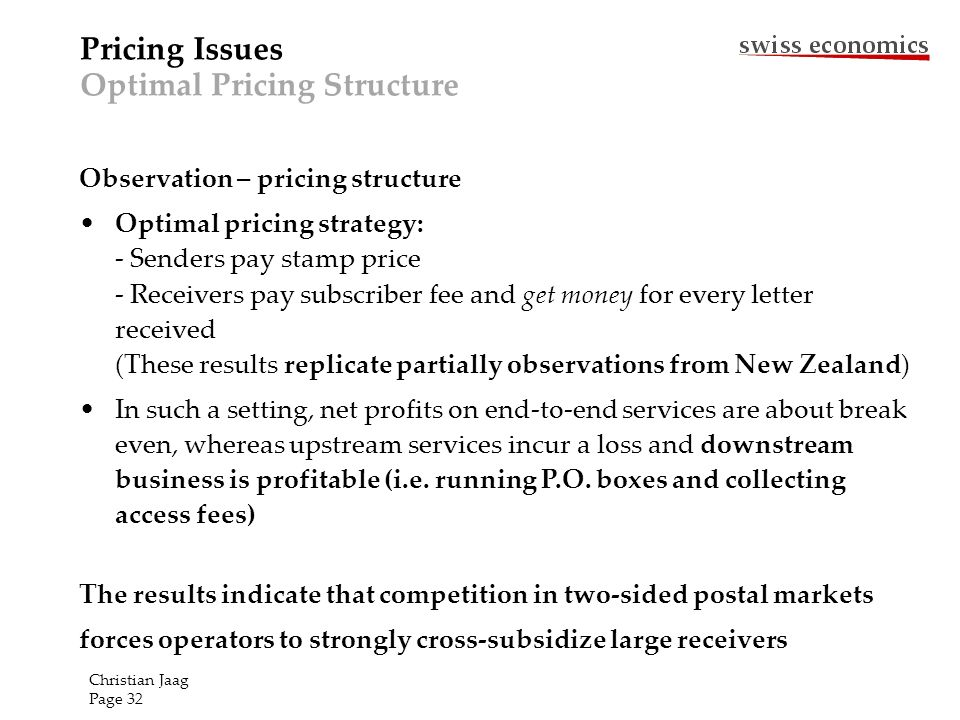 Observation – pricing structure Optimal pricing strategy: - Senders pay stamp price - Receivers pay subscriber fee and get money for every letter rece