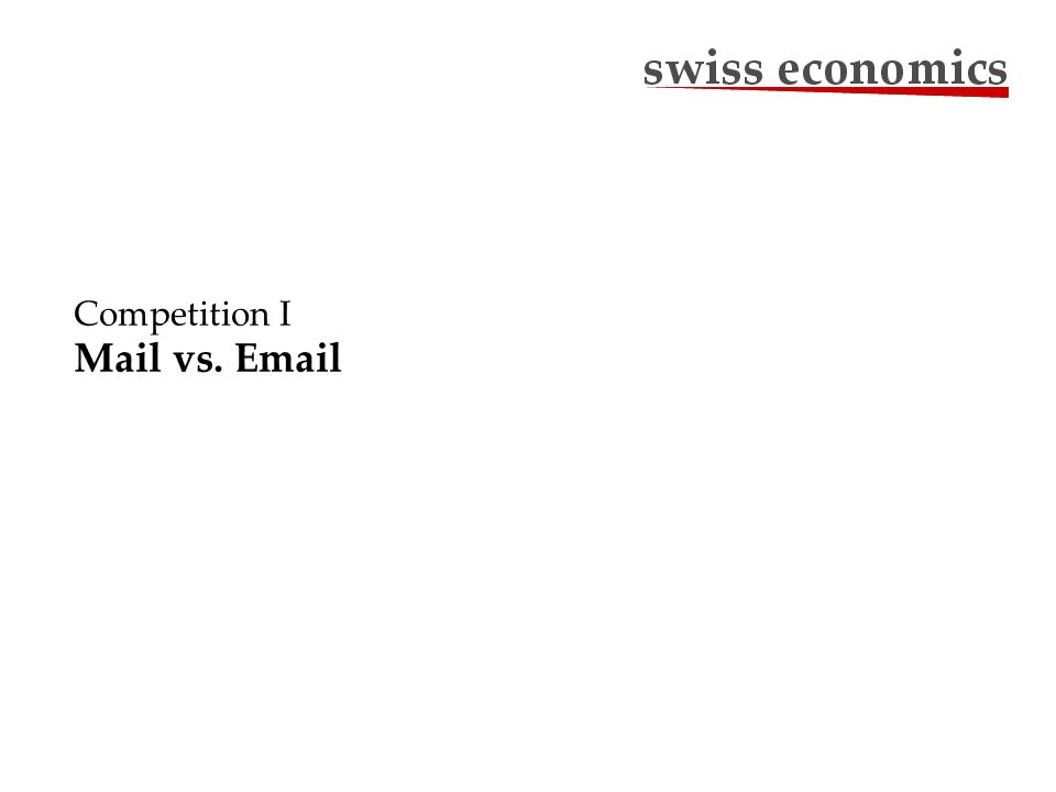 Long-term Effect of E-Substitution Sources: Annual Reports Swiss Post1998-2008; SECO Actual Volumes Hypothetical Volumes without E-Substitution Christian Jaag Page 8