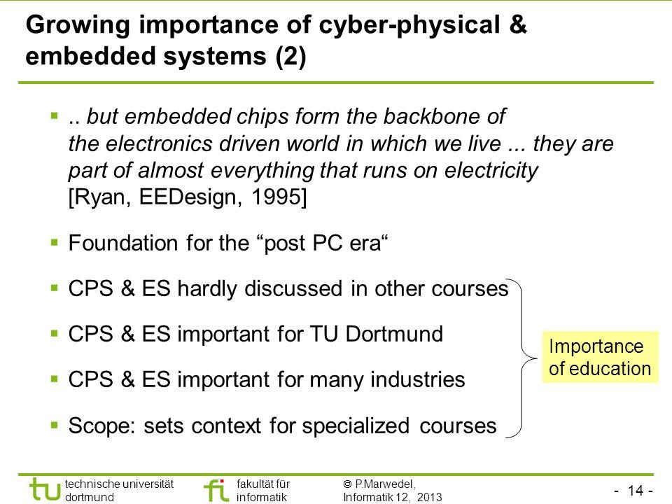 - 14 - technische universität dortmund fakultät für informatik P.Marwedel, Informatik 12, 2013 Growing importance of cyber-physical & embedded systems
