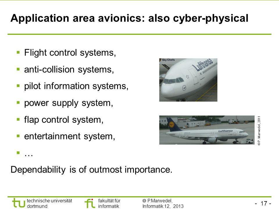 - 17 - technische universität dortmund fakultät für informatik P.Marwedel, Informatik 12, 2013 Application area avionics: also cyber-physical Flight c