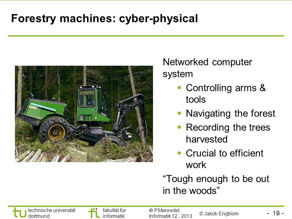 - 19 - technische universität dortmund fakultät für informatik P.Marwedel, Informatik 12, 2013 Forestry machines: cyber-physical © Jakob Engblom Netwo