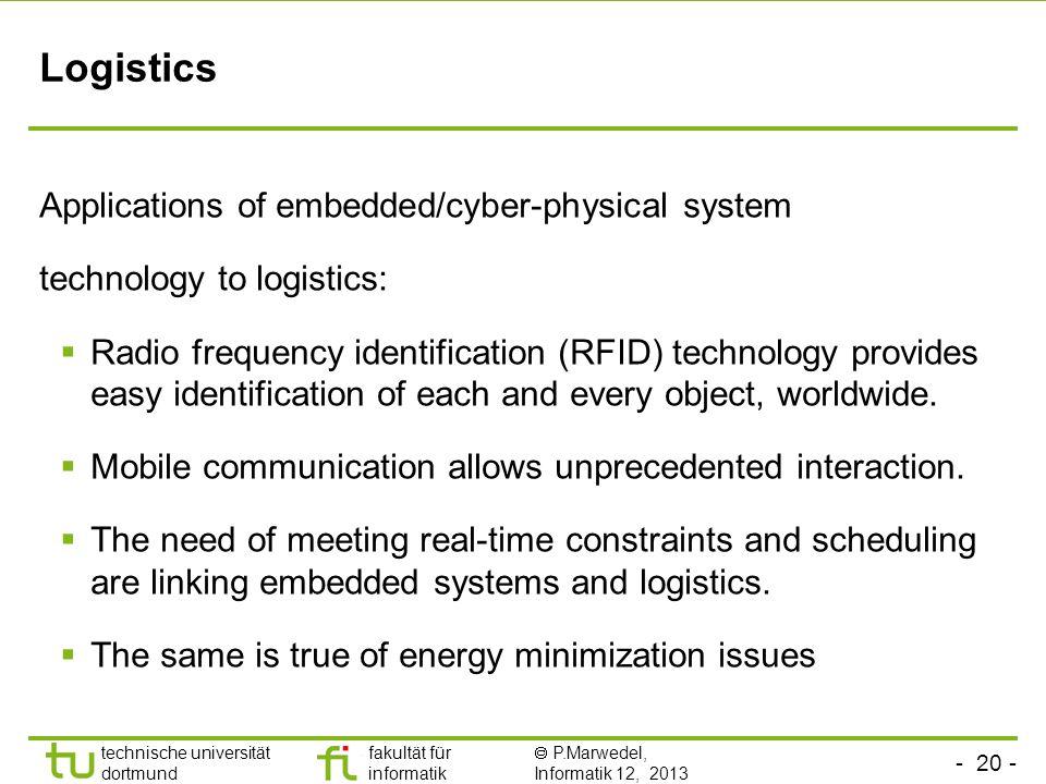- 20 - technische universität dortmund fakultät für informatik P.Marwedel, Informatik 12, 2013 Logistics Applications of embedded/cyber-physical syste