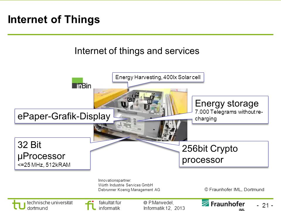 - 21 - technische universität dortmund fakultät für informatik P.Marwedel, Informatik 12, 2013 Internet of Things Internet of things and services Ener