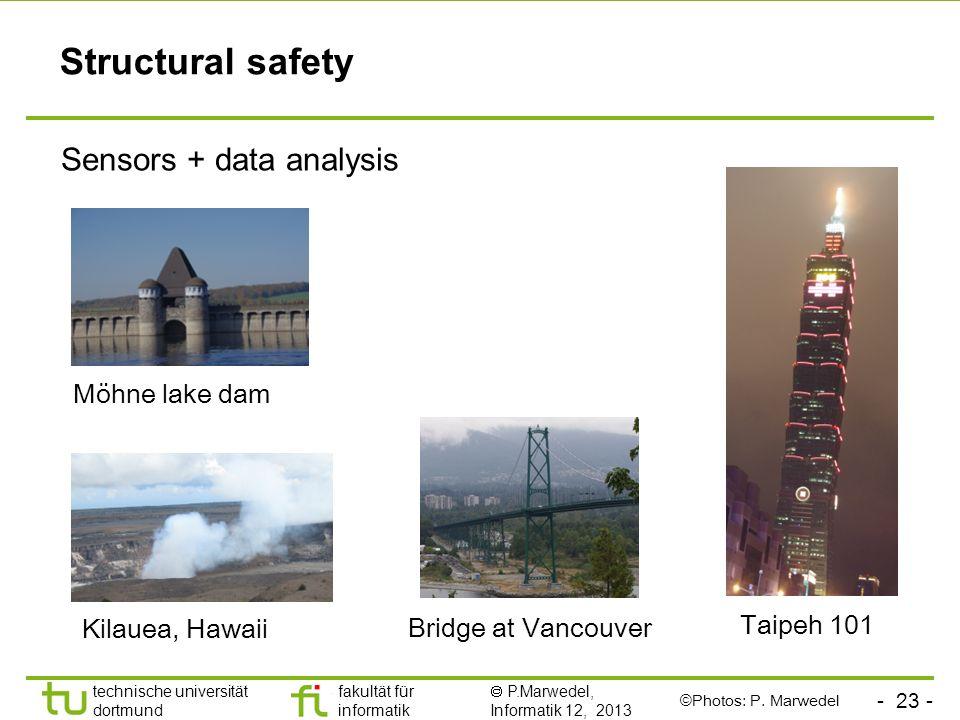 - 23 - technische universität dortmund fakultät für informatik P.Marwedel, Informatik 12, 2013 Structural safety Sensors + data analysis Taipeh 101 Br