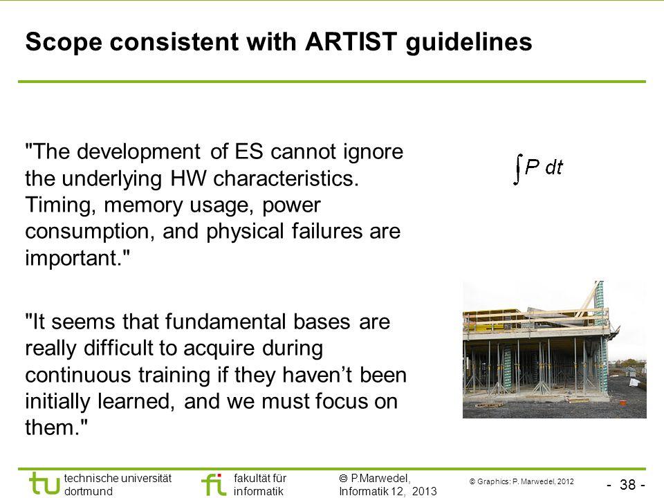 - 38 - technische universität dortmund fakultät für informatik P.Marwedel, Informatik 12, 2013 Scope consistent with ARTIST guidelines