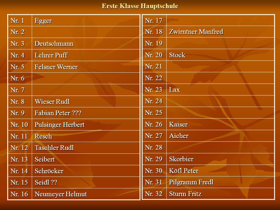 Nr. 1 Egger Nr. 2 Nr. 3 Deutschmann Nr. 4 Lehrer Puff Nr. 5 Felsner Werner Nr. 6 Nr. 7 Nr. 8 Wieser Rudl Nr. 9 Fabian Peter ??? Nr. 10 Pulsinger Herbe