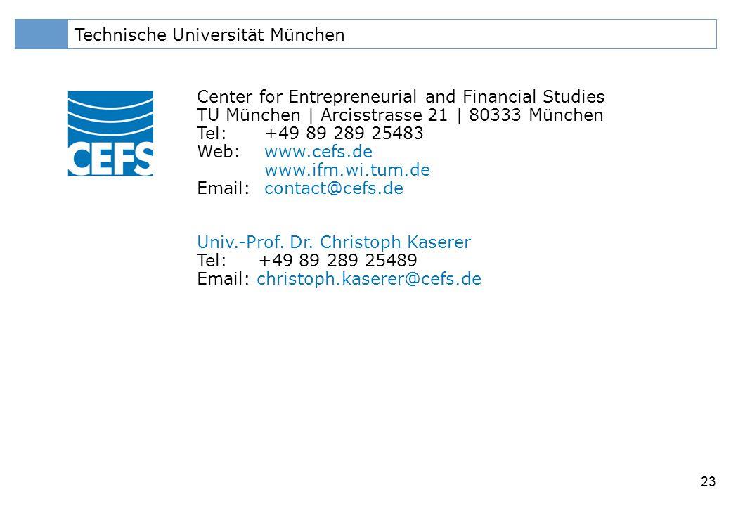 Klicken Sie, um das Titelformat zu bearbeiten 23 Technische Universität München Center for Entrepreneurial and Financial Studies TU München | Arcisstrasse 21 | 80333 München Tel: +49 89 289 25483 Web:www.cefs.de www.ifm.wi.tum.de Email:contact@cefs.de Univ.-Prof.