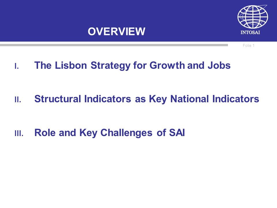 INTOSAI Folie 1 OVERVIEW I.The Lisbon Strategy for Growth and Jobs II.