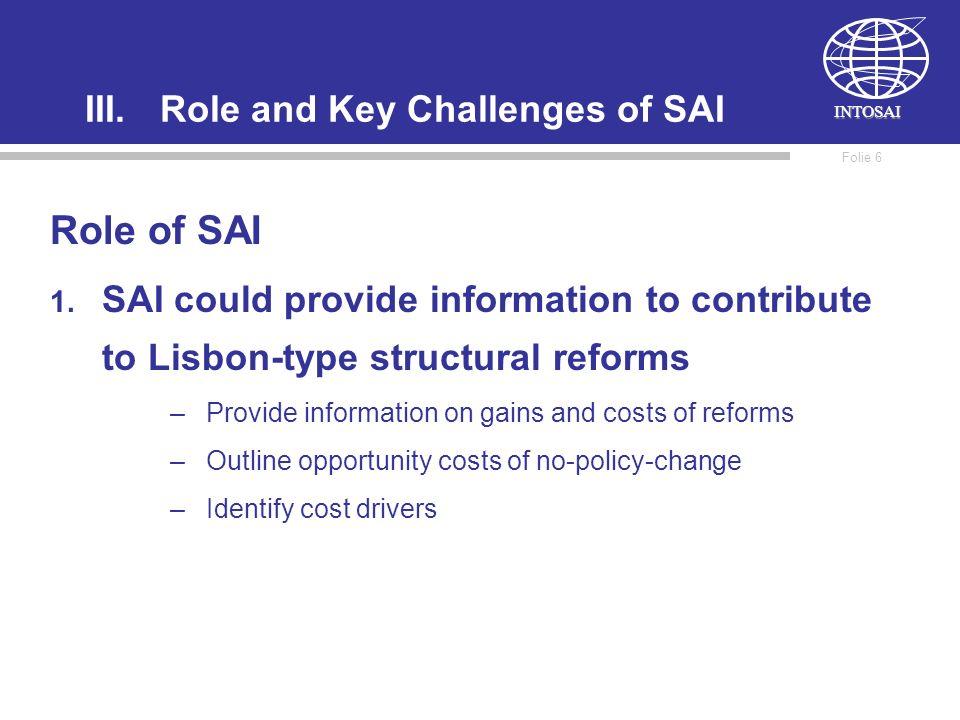 INTOSAI Folie 6 III.Role and Key Challenges of SAI Role of SAI 1.