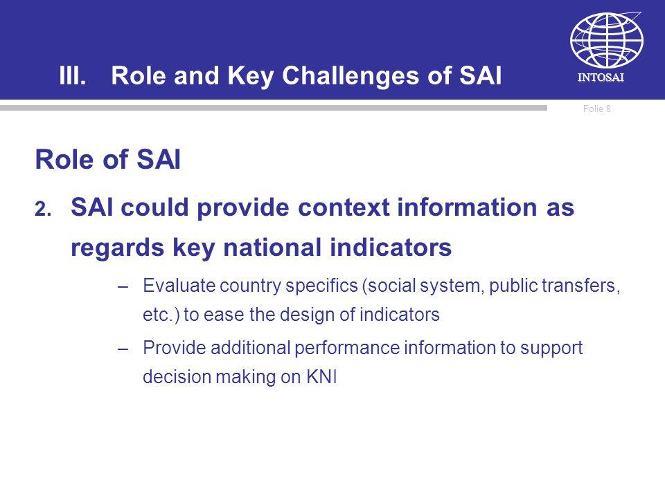 INTOSAI Folie 8 III.Role and Key Challenges of SAI Role of SAI 2.