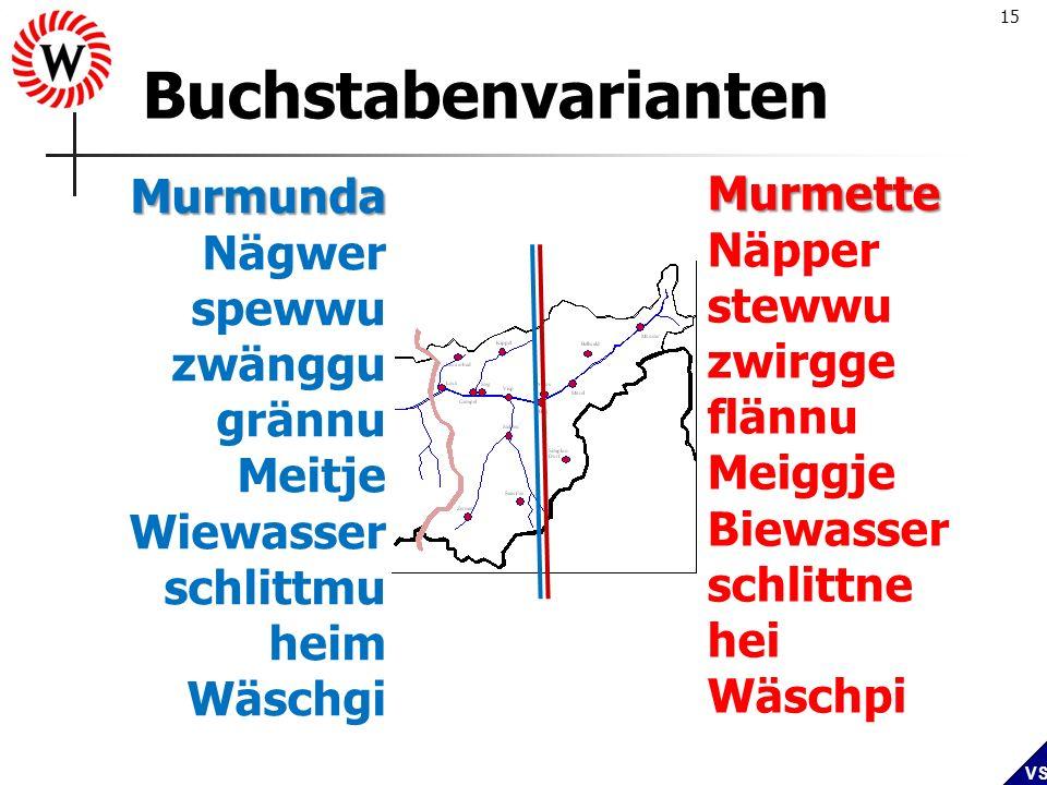 15 VS Buchstabenvarianten Murmunda Nägwer spewwu zwänggu grännu Meitje Wiewasser schlittmu heim Wäschgi Murmette Näpper stewwu zwirgge flännu Meiggje