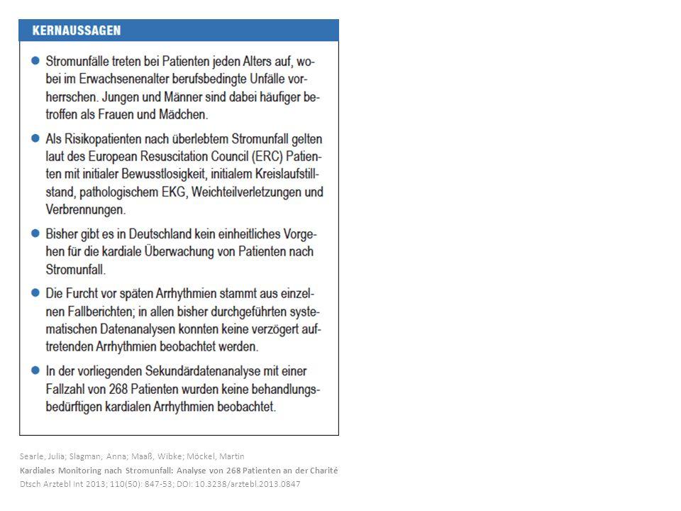 Searle, Julia; Slagman, Anna; Maaß, Wibke; Möckel, Martin Kardiales Monitoring nach Stromunfall: Analyse von 268 Patienten an der Charité Dtsch Arzteb