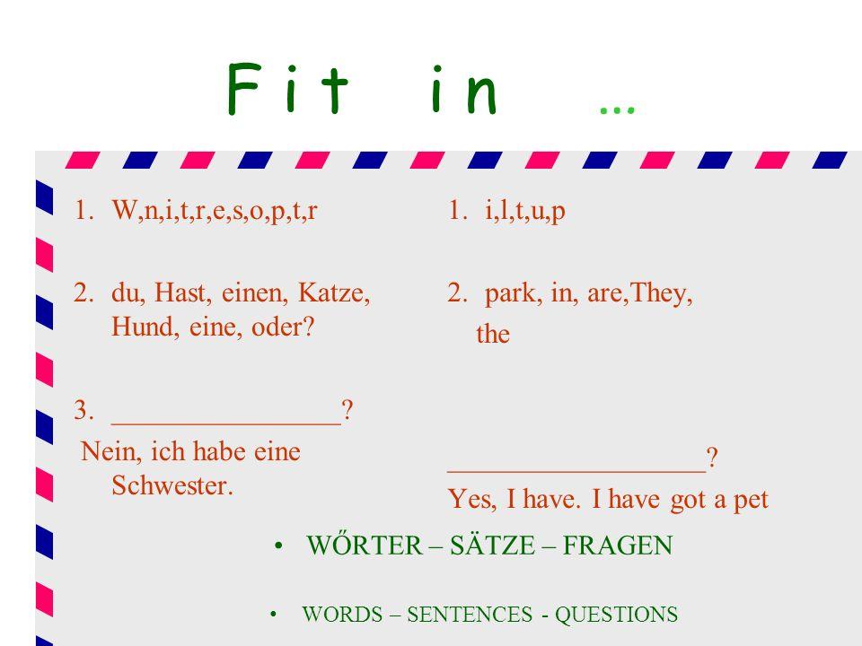 F i t i n … 1.W,n,i,t,r,e,s,o,p,t,r 2.du, Hast, einen, Katze, Hund, eine, oder? 3.________________? Nein, ich habe eine Schwester. 1.i,l,t,u,p 2.park,