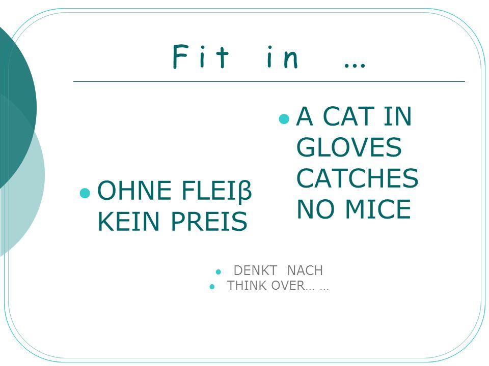 F i t i n … OHNE FLEIβ KEIN PREIS A CAT IN GLOVES CATCHES NO MICE DENKT NACH THINK OVER… …