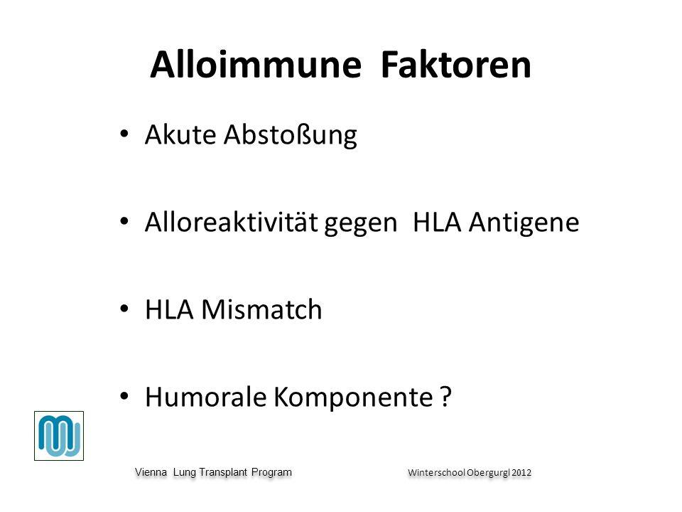Vienna Lung Transplant Program Winterschool Obergurgl 2012 Vienna Lung Transplant Program Winterschool Obergurgl 2012 Alloimmune Faktoren Akute Abstoßung Alloreaktivität gegen HLA Antigene HLA Mismatch Humorale Komponente