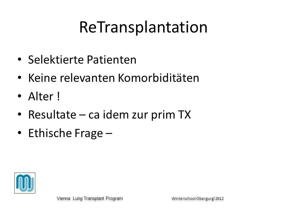 Vienna Lung Transplant Program Winterschool Obergurgl 2012 Vienna Lung Transplant Program Winterschool Obergurgl 2012 ReTransplantation Selektierte Patienten Keine relevanten Komorbiditäten Alter .
