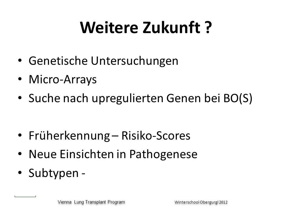 Vienna Lung Transplant Program Winterschool Obergurgl 2012 Vienna Lung Transplant Program Winterschool Obergurgl 2012 Weitere Zukunft ? Genetische Unt