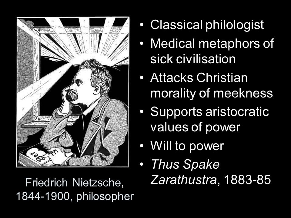 Friedrich Nietzsche, 1844-1900, philosopher Classical philologist Medical metaphors of sick civilisation Attacks Christian morality of meekness Suppor