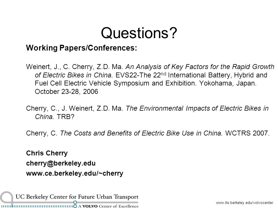 Questions. Working Papers/Conferences: Weinert, J., C.